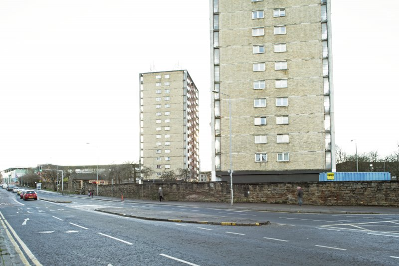 General view of the perimeter walls of the former Maryhill Barracks site, taken on Maryhill Road from the north.