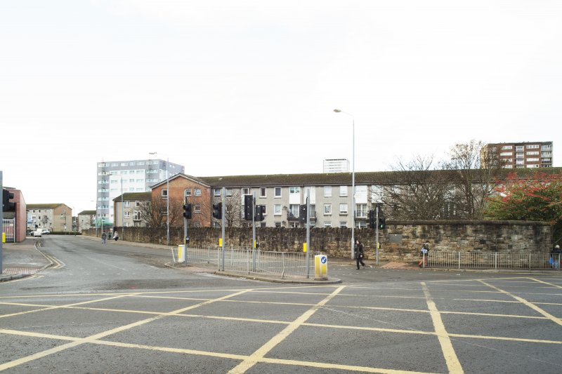 General view of the perimeter walls of the former Maryhill Barracks site, taken at the junction of Maryhill Road and Garioch road from the north east.