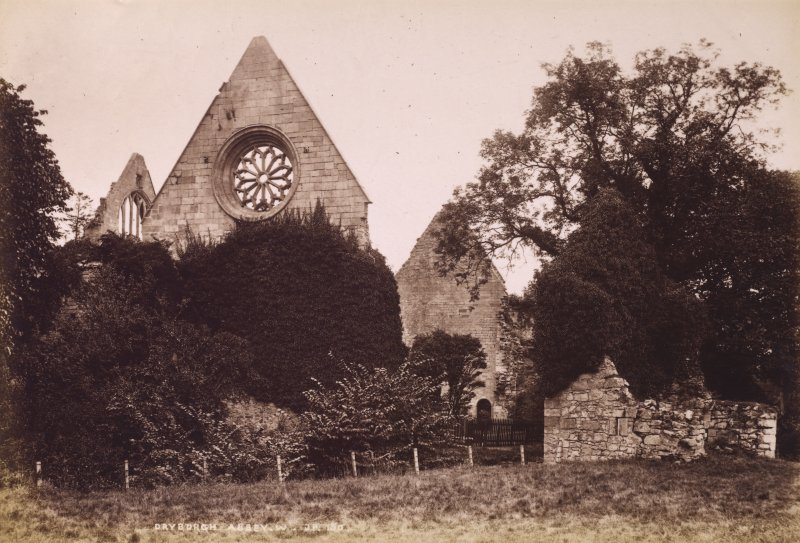 View of Dryburgh Abbey from W. Titled: 'Dryburgh Abbey W. J.P. 150.' PHOTOGRAPH ALBUM No 195: PHOTOGRAPHS BY G W WILSON & CO