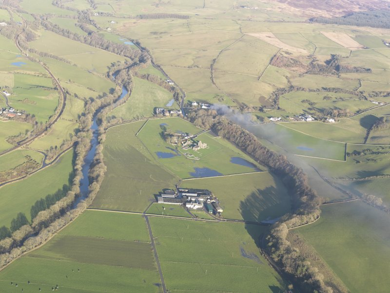 General oblique aerial view of Glenluce Abbey, looking N.