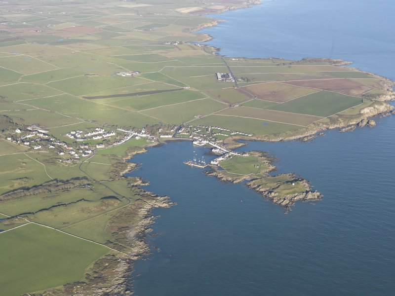General oblique aerial view of Isle of Whithorn, looking NNW.