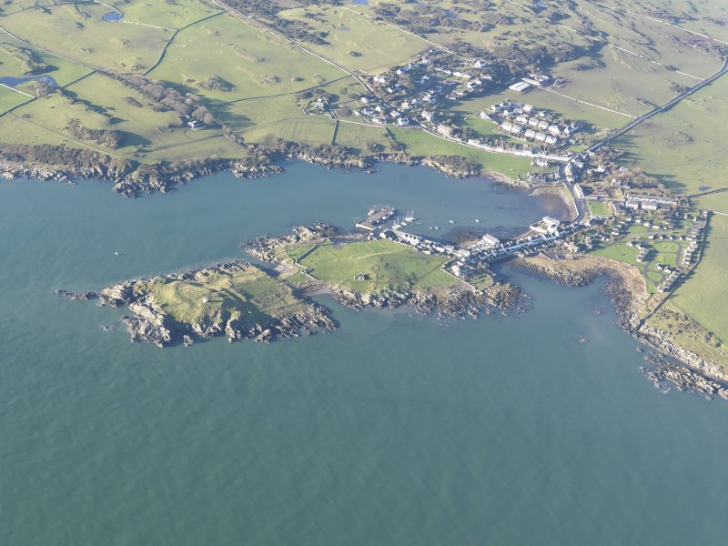 General oblique aerial view of Isle of Whithorn, looking W.