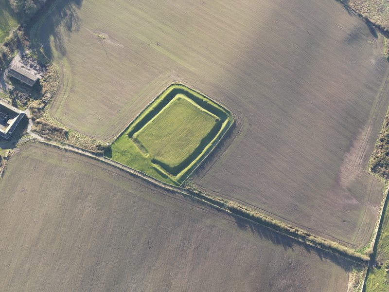 Oblique aerial view of Rispain Camp, looking SSW.
