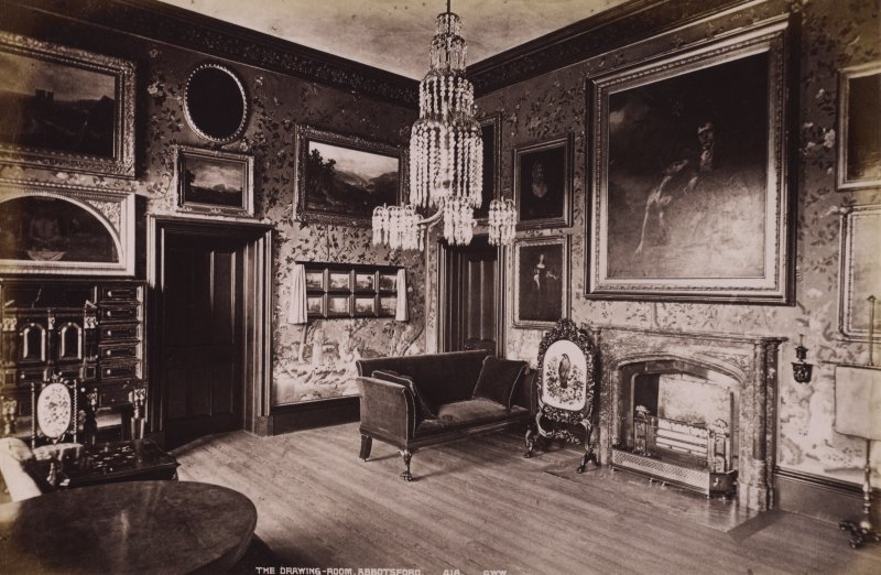 Abbotsford, interior view of drawing room. Titled: The Drawing room, Abbotsford, 418 G.W.W.' PHOTOGRAPH ALBUM No.195: George Washington Wilson Album, p.128.