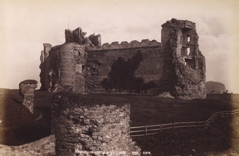 Tantallon Castle, view showing Bass Rock in distance. Titled: 'Tantallon and Bass Rock, 7088 G.W.W.' PHOTOGRAPH ALBUM No. 195:George Washington Wilson Album, p.135.