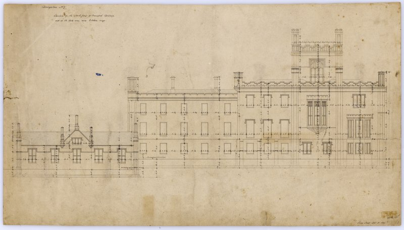 Drawing showing elevation of principal building.