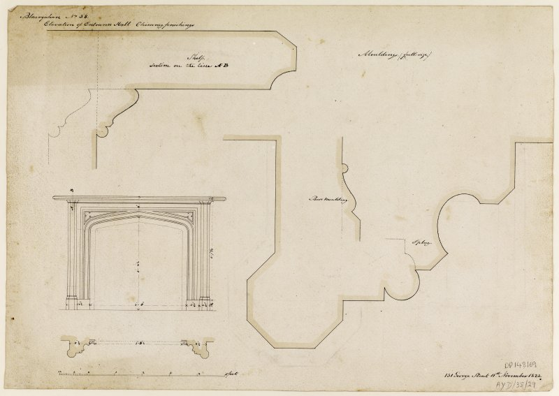 Drawing showing elevation of entrance hall and details of chimney finishes and mouldings.