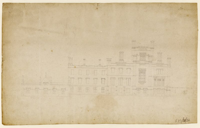 Drawing showing elevation of principal front.