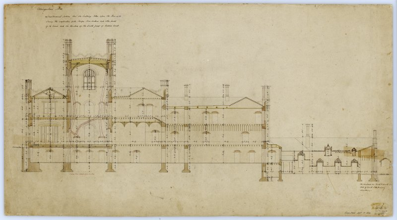 Section and elevation showing construction details.