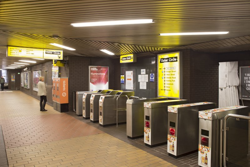 Interior. View looking along turnstiles within the concourse of St Enoch subway station