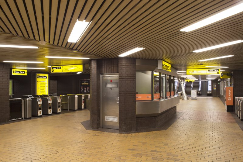 Interior. View looking back along the concourse of St Enoch subway station, towards rear of ticket office and turnstiles