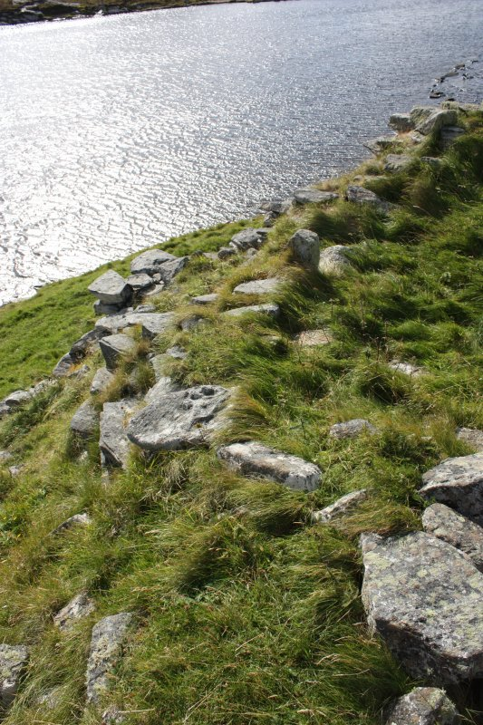 The broch wall on the SE. The internal broch wallface is just visible. A single upright stone near the centre of the photograph shows the entrance to the later small room.
