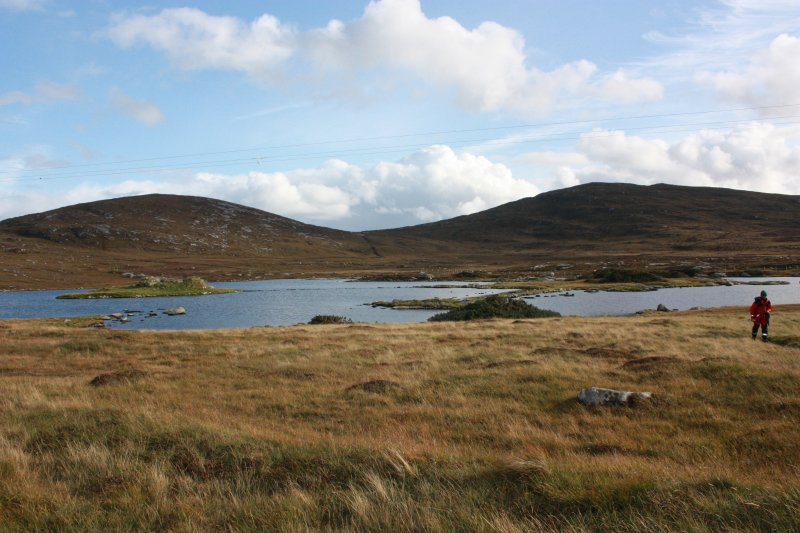 General shot of Loch an Sticer, with Dun an Sticer at left.