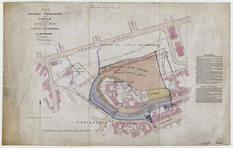 Plan of Edinburgh Castle and surrounding area.   Titled: 'Plan of Crown Property at the Castle taken from the Ordnance Survey of the City of Edinburgh by J Downing 1853 (No 508 of Process) Fr. Schenk Lith. Edinburgh'.