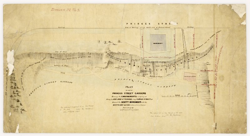 Plan showing East Princes Street Gardens, Edinburgh. Titled: 'Plan of part of Princes Street Gardens shewing embankments carrying on along the new road and terrace along Princes Street and round the Scott Monument with the  boundary lines referred to in Process from a survey by George Buchanan Civil Engineer, Edin'.