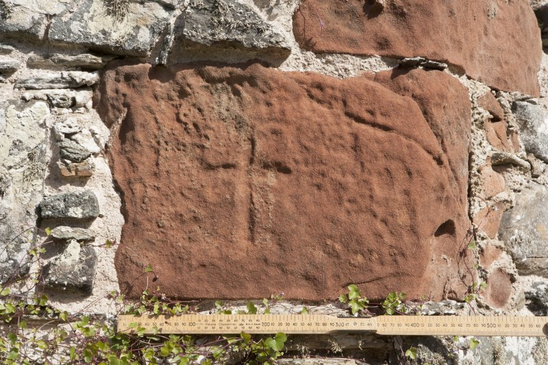 Detail of incised cross on east wall (including scale).