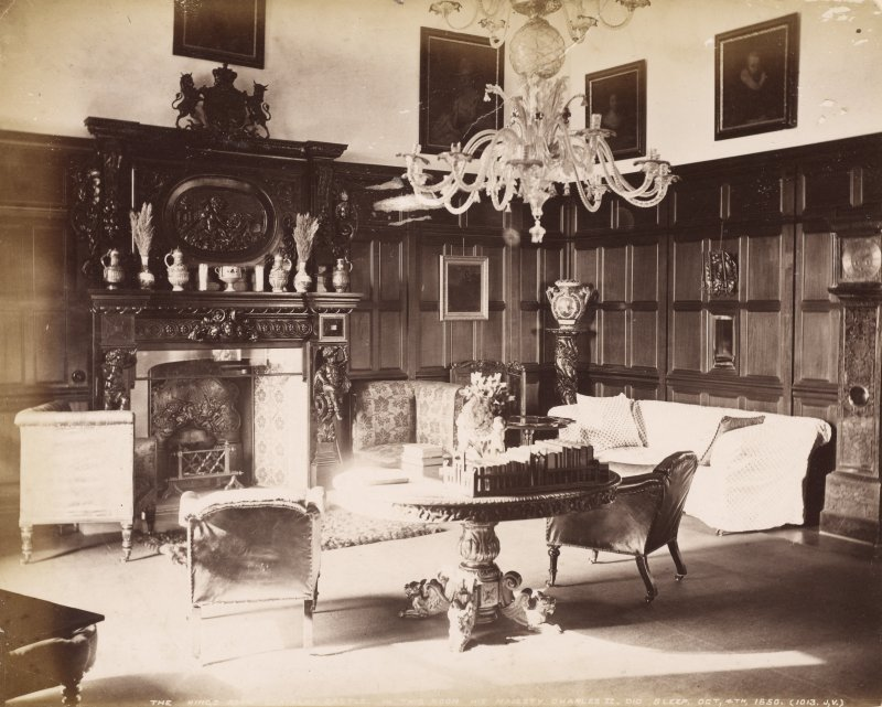"Cortachy Castle. Interior view titled ""The King's Room, Cortachy Castle. In this room His Majesty Charles 11 did sleep. Oct.4th 1650."" PHOTOGRAPH ALBUM No 47: DUNDEE ALBUM"