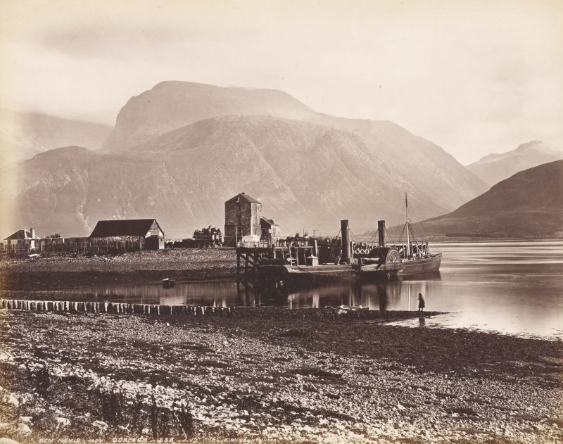 View of Ben Nevis from Corpach showing S.S. Mountaineer at jetty.