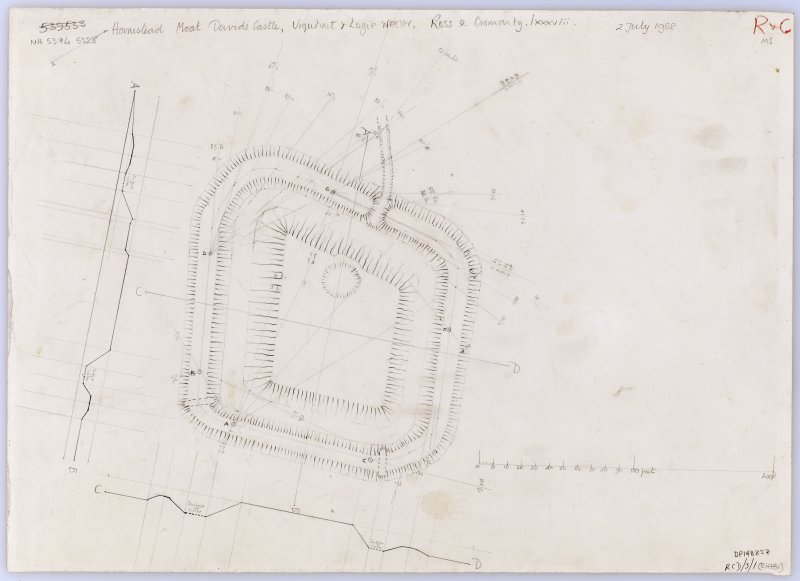 Plane table survey plan and profiles: David's Fort moated site.