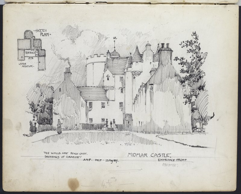 Page 47. Ink sketched views of principal elevation and plan of castle. A N PATERSON SKETCHBOOK NO. 8.