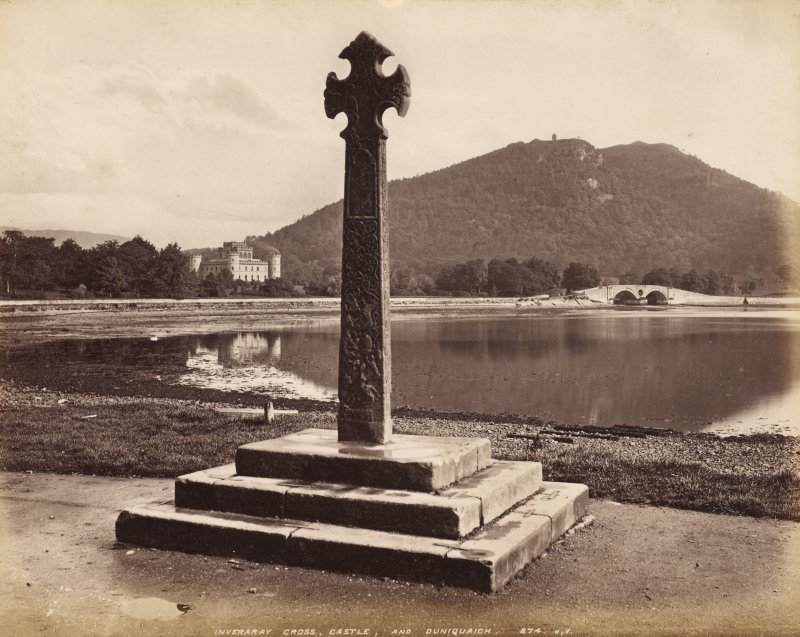 View of Inveraray Cross with Inveraray Castle in background.