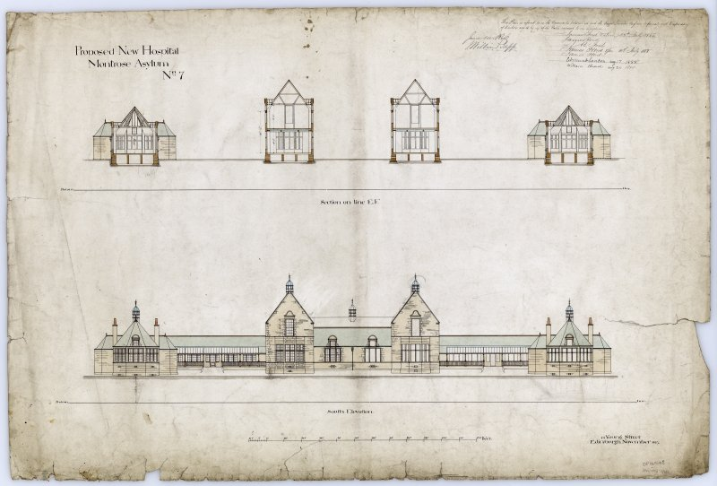 Section on line E.F. and South Elevation.
