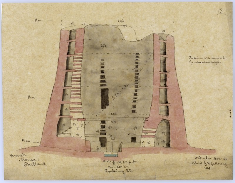 Section through Broch of Mousa looking SE.