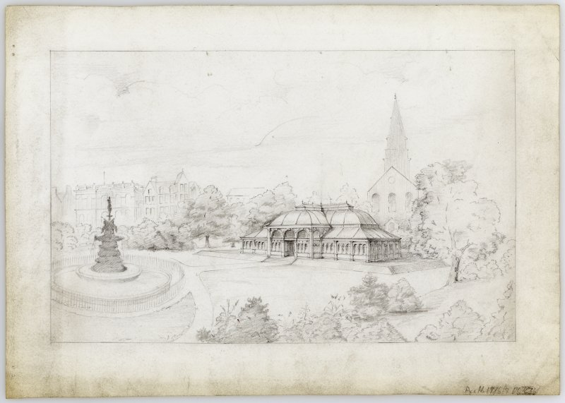 Perspective view including Synod Hall, St Cuthbert's Church and Ross Fountain of proposed Winter Garden, Princes Street Gardnes, Edinburgh.
