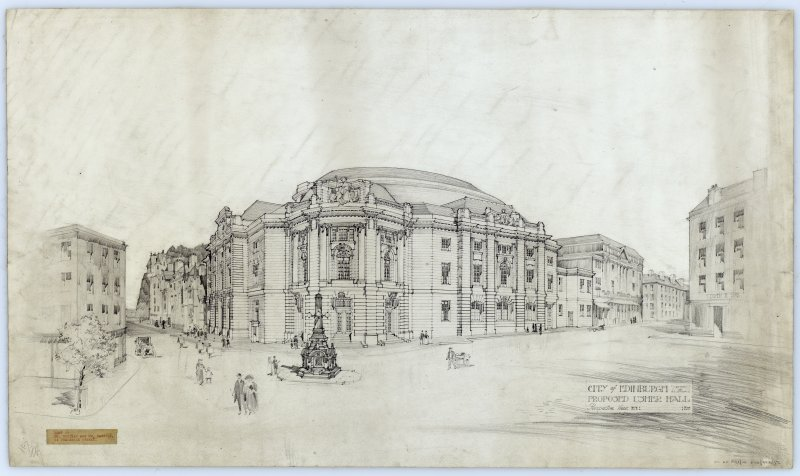 Edinburgh, Lothian Road, Usher Hall. Perspective view of proposed building from Lothian Road. Titled: 'City of Edinburgh.  Proposed Usher Hall.  Perspective View'. Label Insc: 'Lent By Mr. Mottram and Mr. Patrick   14 Frederick Street'.