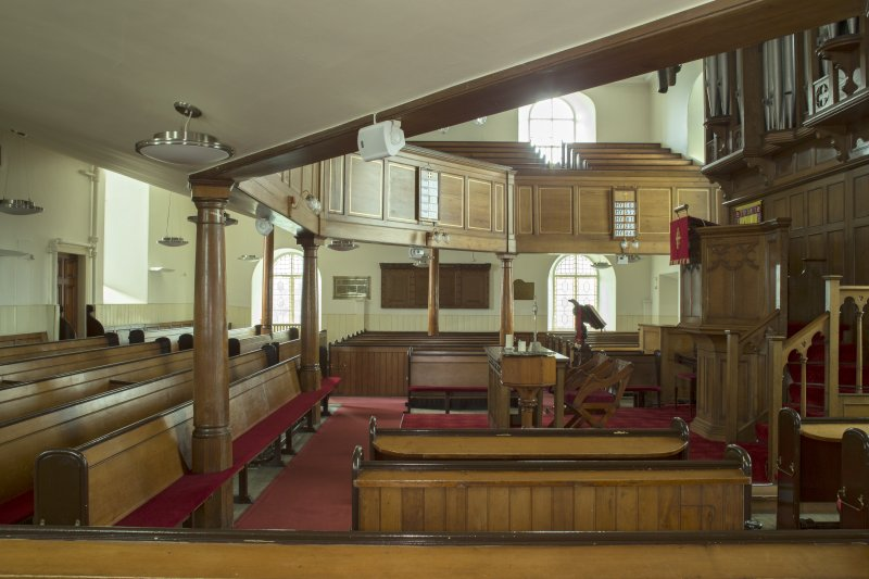 Interior. View looking straight across the worship space, taken from the west