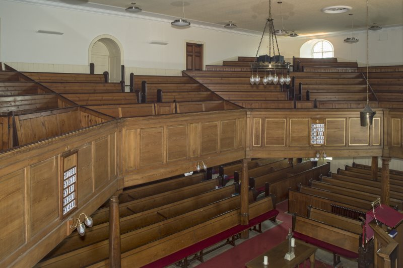 Interior. View looking across the main worship space of the church, taken from the south west corner of the gallery