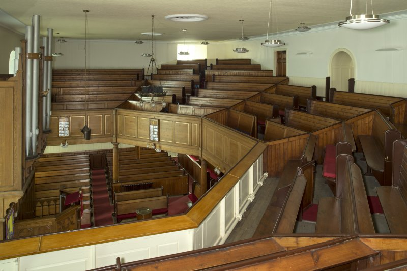 Interior. View looking across the main worship space of the church from east side of the gallery