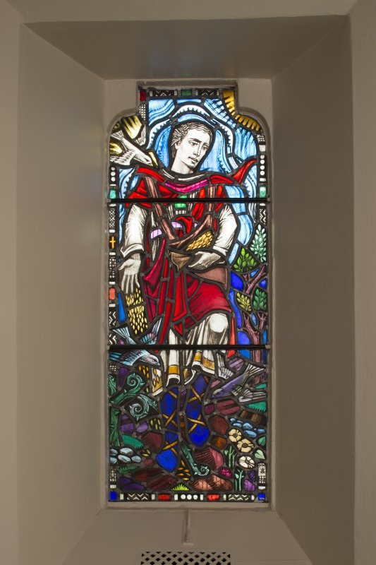 Interior. Detail of stained glass window in lobby