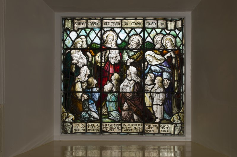 Interior. Detail of stained glass window at east end of south wall