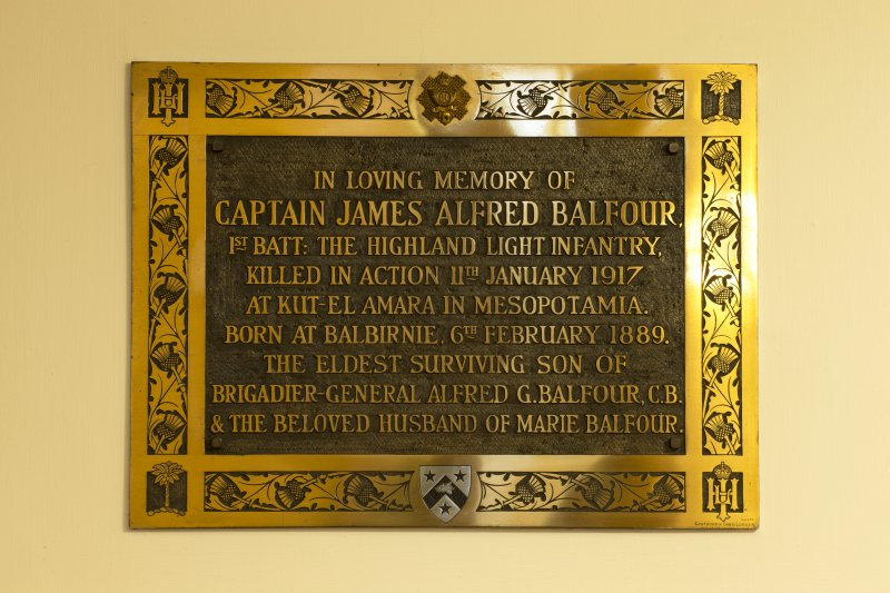 Interior. Detail of memorial to Captain James Alfred Balfour