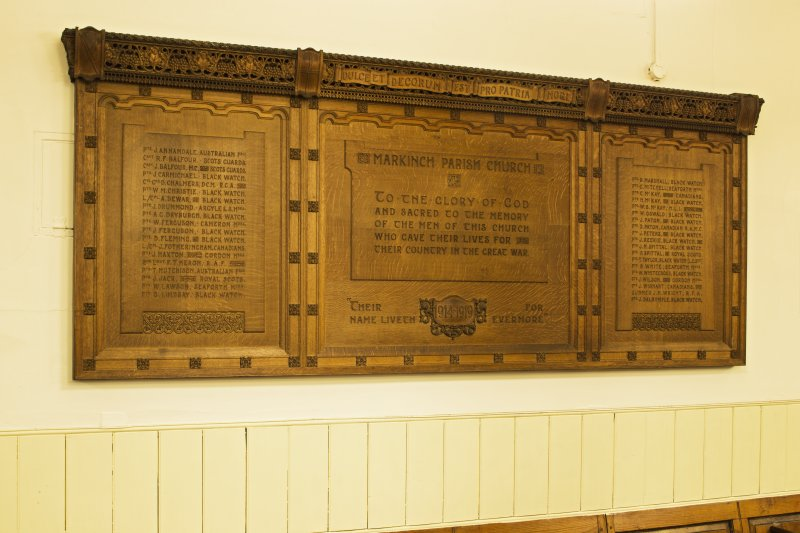 Interior. Detail of wooden WW1 memorial panel