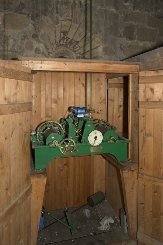 Interior. View of clock mechanism within the 2nd stage of the tower