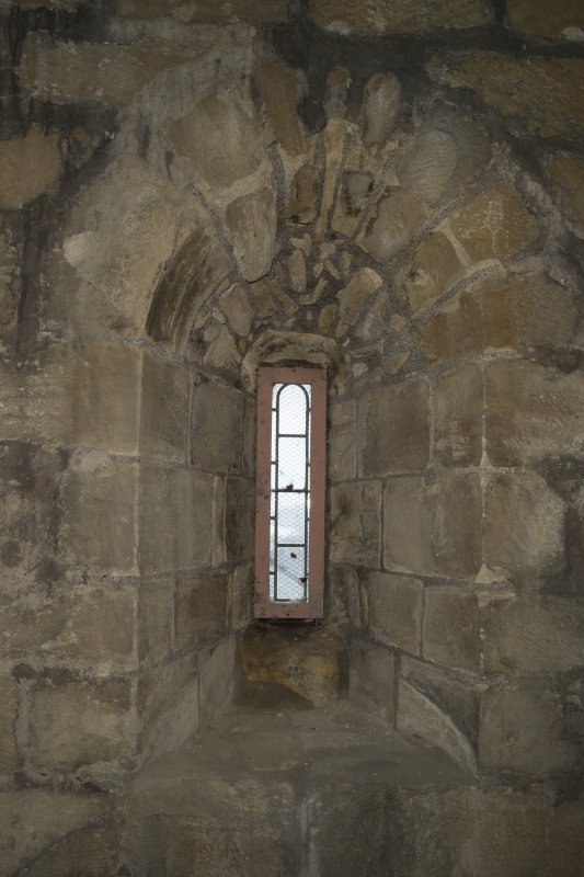 Interior. Detail of slit window within the 2nd stage of the tower