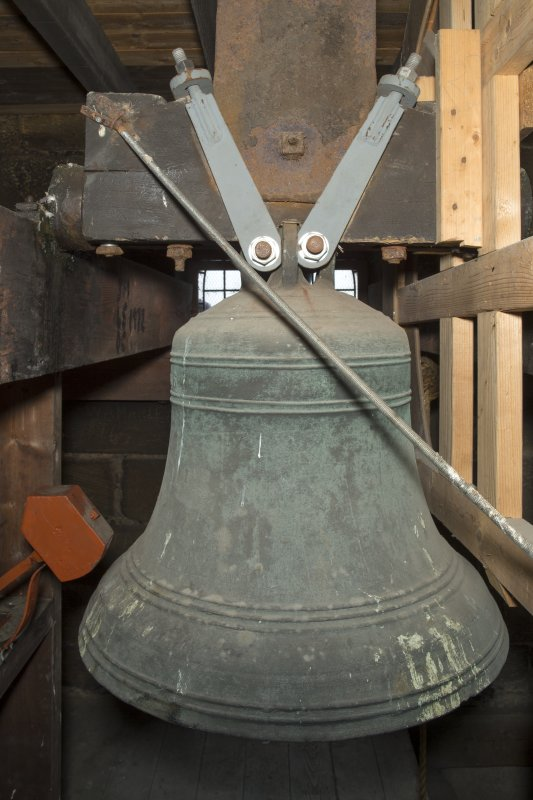 Interior. Detail of the church bell on the 3rd stage of the tower.