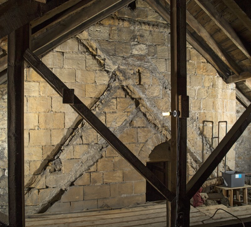 Interior. Composite image within the roof space of the church, showing the raggles of earlier roofs on the tower's east face, 2nd stage