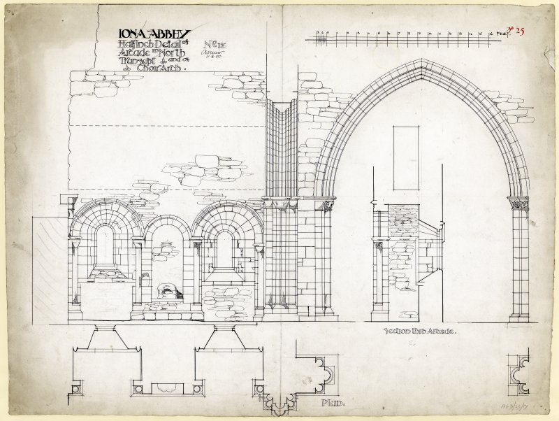 Plan of transverse section through North transept and tower looking East, St Mary's Abbey, Iona.