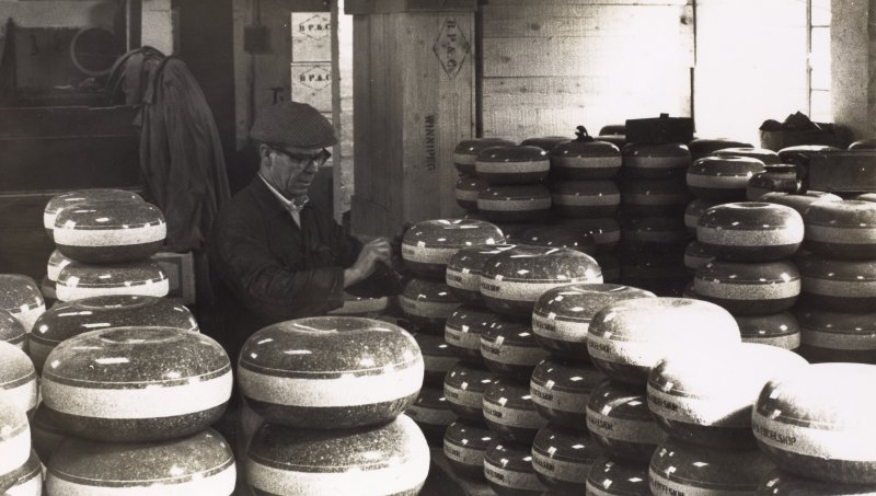 Interior. Former Packing Shed. Process: Finishing.  Finished stones having 'Kays Excelsior' and 'Made in Scotland' stencilled onto the striking band prior to shipping. c. 1940s. No longer done