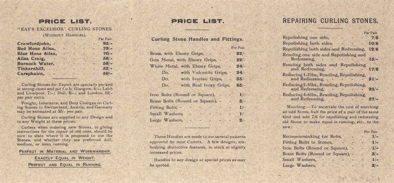 Kay's Curling Stones, price list 1920-21