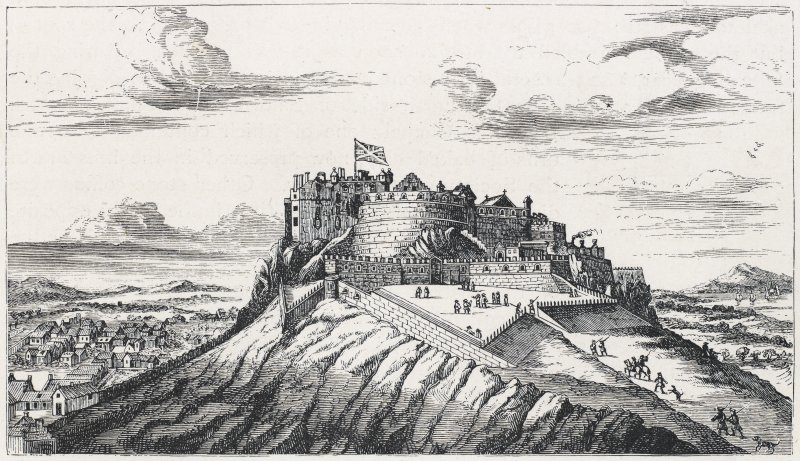 View of Edinburgh Castle. Titled: 'Old view of Edinburgh Castle, showing propsect beyond'.