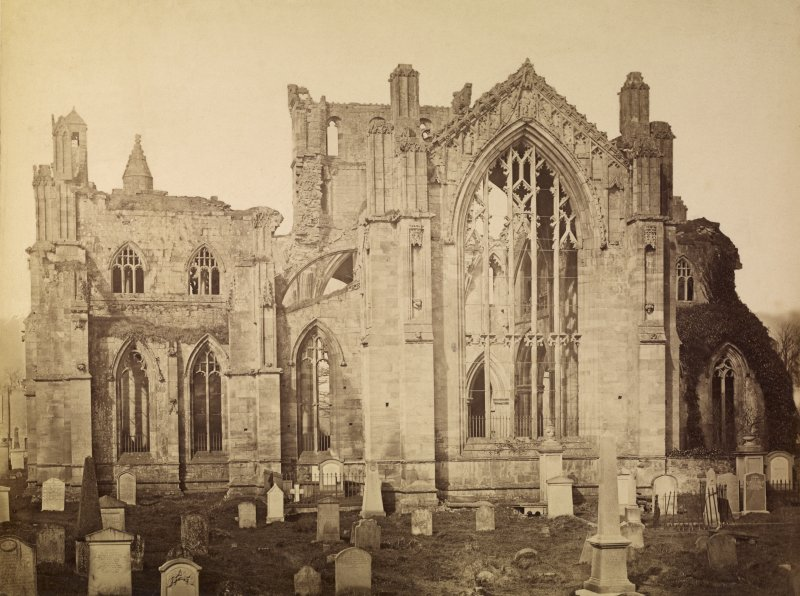 General view from south, Melrose Abbey.