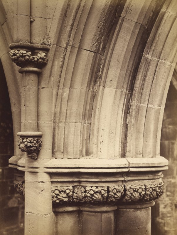Detail of piers in nave, Melrose Abbey.