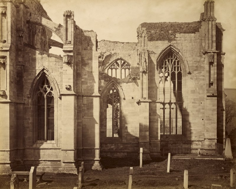 View of choir and south transept from the south east, Melrose Abbey.