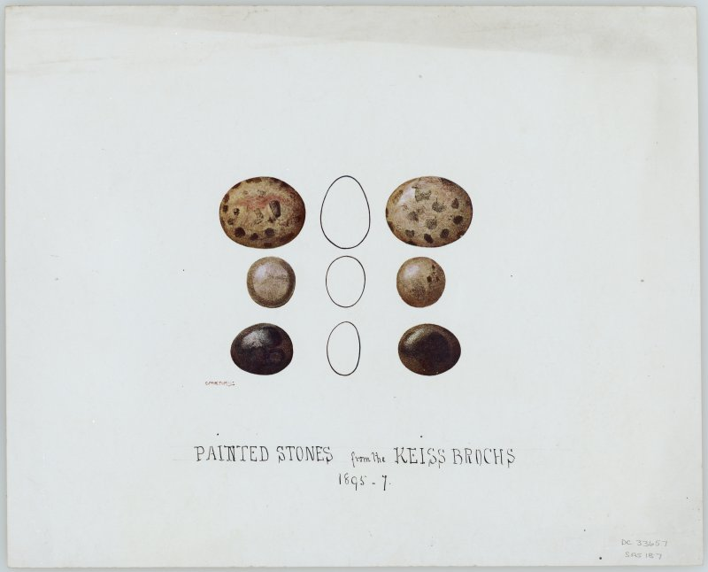 Painted pebbles, Keiss brochs.
