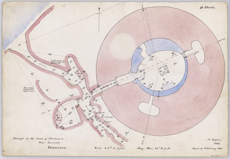 Plan of Clickimin broch and outbuildings to W, with annotations and measurements. Drawn by Dryden in 1866 and copied by Galloway in 1868. Titled: 'Brough in the Loch of Clickemin. Near Lerwick. Shetland'.