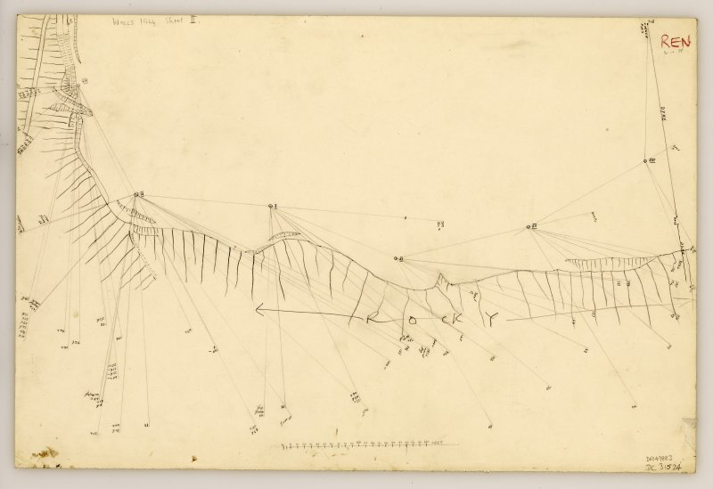 Plane table survey plan of fort at Walls Hill (sheet 2 of 3).
